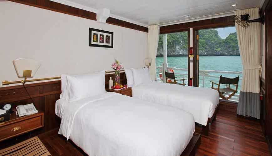 Vietnam Reisen - Die luxuriösen Kabinen der Au Co Cruise mit eigenem Balkon