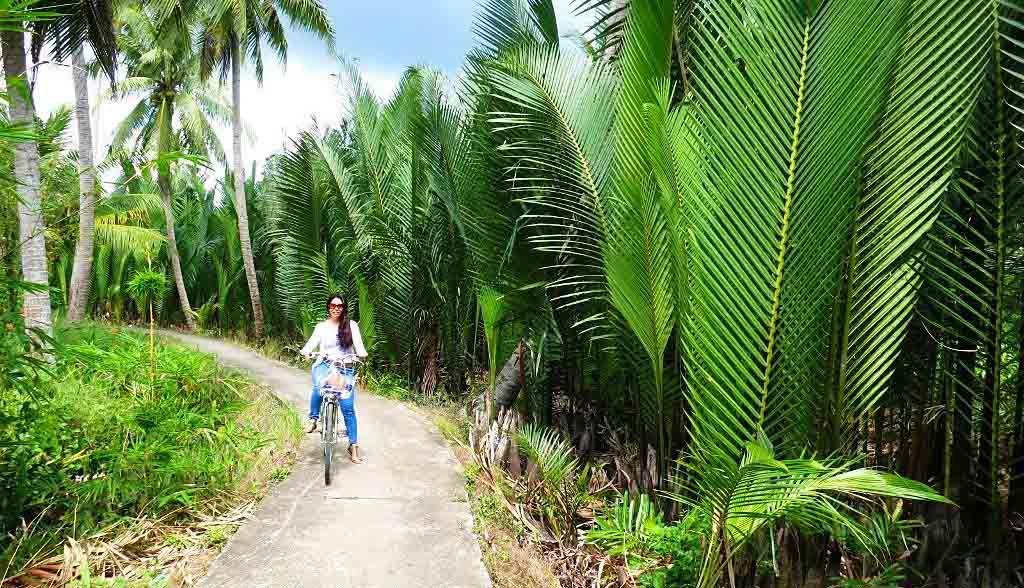 Vietnam Reisen - Velotour durch wunderschöne Palmenwälder im Mekong Delta (Originalbild Mirango Travel)