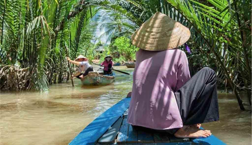 Vietnam Reisen - Typische Flusslandschaft im Mekong Delta