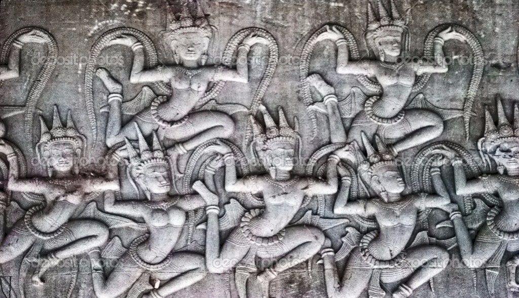 Religiöses Relief am Angkor Wat Tempel